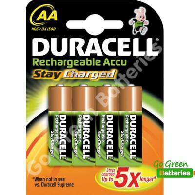 4 x Duracell AA 2000 mAh PRE/ STAY CHARGED Rechargeable Batteries NiMH HR6 phone