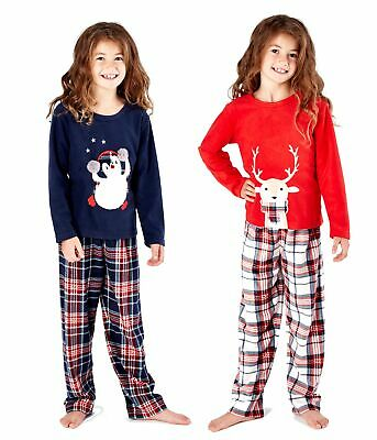 Childrens / Girls Christmas Fleece Pyjama Set with Check Bottoms ~ 5-13 Years