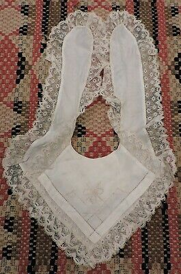 Fanciful Antique Victorian 19Th C Baby Bib W Embroidery & Valenciennes Lace
