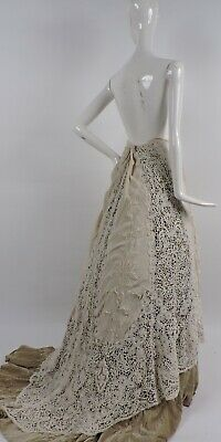 Most Romantic Victorian Hand Made Lace & Embr Silk Wedding Skirt For Dress