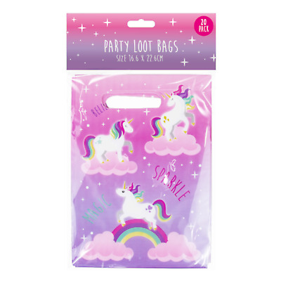 20x Children's GIrls Party Bags Unicorn Loot Kids Pink Birthday Gift Favour