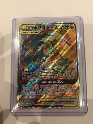 222/236 Reshiram & Zekrom TAG TEAM GX Rare Ultra  Cosmic Eclipse Pokemon
