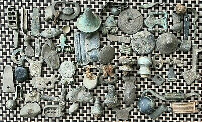 Lot Of 60 Ancient Roman And Byzantine Medieval Bronze Artifacts And Fragments