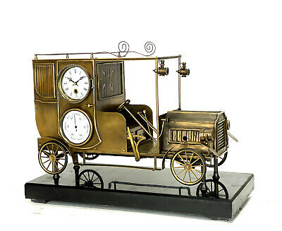 Large French Style Brass Automaton Wheels Automobile Industrial Car Clock