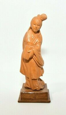 Antique Chinese Boxwood Carved Wood Lady Figurine Statue