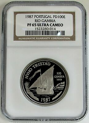1987 Palladium Portugal 100 Escudos Rio Gambia Ngc Proof 65 Ultra Cameo