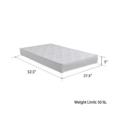 Standard Crib Mattress 5 in Thick Safety 1st Polyester Core White Vinyl Cover