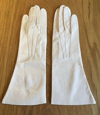 Beautiful Vintage Leather Gloves In Cream Very Good Condition Size 6.5