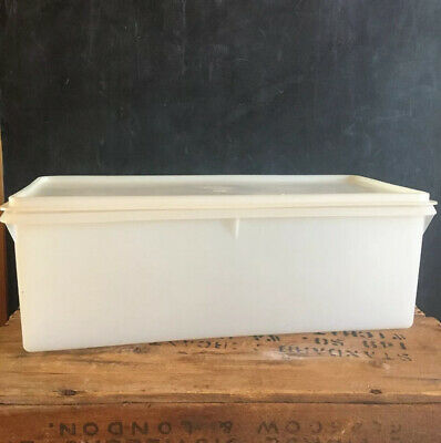 Vintage Tupperware Bread Keeper Container Box White Sheer #606-7 With Lid #607-2