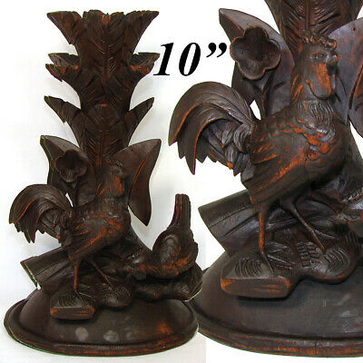 """Antique Black Forest Carved 10"""" Tall Epergne or Candle Stand, Lamp Base? Rooster"""