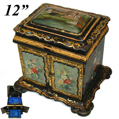 """RARE Antique Victorian Papier Mache 12"""" Chest, HP Floral, Pearl Inlays, Tomb"""