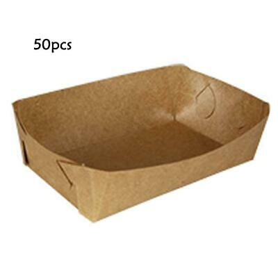 50pcs Paper Etc Box Chicken Fried Box Boat For Tray Oil-Proof Kraft Shaped 7YFG