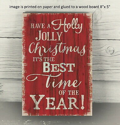 Country Primitive Holly Jolly Christmas Farmhouse Wooden Sign Sitter PRINT
