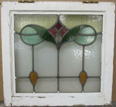 "OLD ENGLISH LEADED STAINED GLASS WINDOW Gorgeous Abstract & Drops 19"" x 18"""