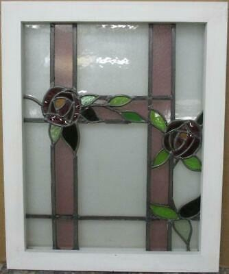 "MIDSIZE OLD ENGLISH LEADED STAINED GLASS WINDOW Stunning Floral 19.5"" x 24.25"""