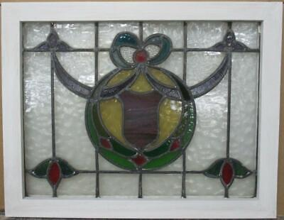 "MIDSIZE OLD ENGLISH LEADED STAINED GLASS WINDOW Pretty Wreath & Bow 25.75"" x 20"""
