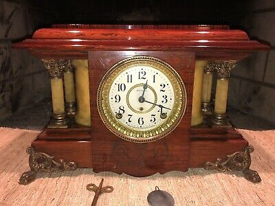"Antique Seth Thomas Adamantine Mantle Clock ""Sucile"" Model Near Perfect Case"