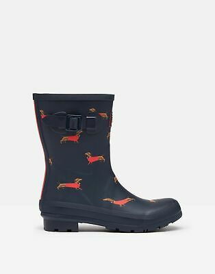 Joules 209700 Mid Height Printed Wellie Boots in SAUSAGE DOG NAVY