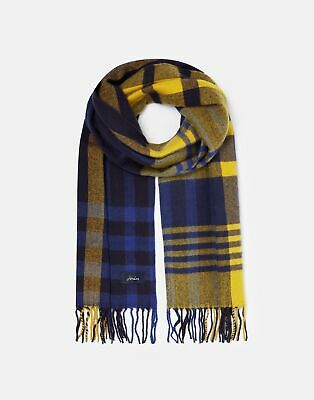 Joules 209567 Check Woven Scarf in NAVY GOLD CHECK in One Size