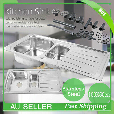 Handmade Stainless Steel Kitchen Sink Double Bowls with Drainer Set 100x50cm New