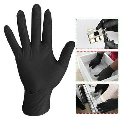 200 Black Nitrile Disposable Gloves Powder Latex Free Tattoo Mechanic Valeting