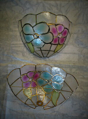 Tiffany style sconces pair in mother of pearl, the very precious mother of pearl