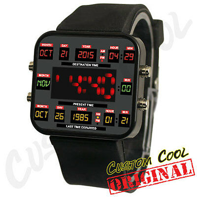 Back to the 80s Retro Future Time Circuit Themed Unisex Geek LED Digital Watch