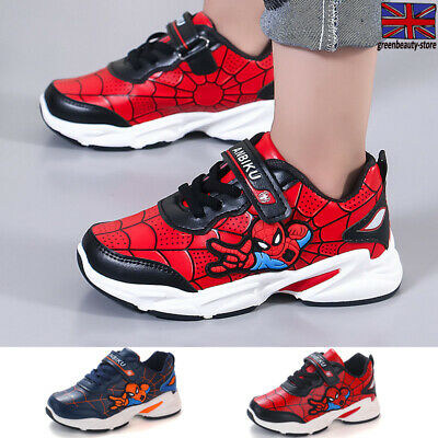 Boys Girls Spiderman Cartoon Sports Running Shoes Sneakers Trainers Faux Leather
