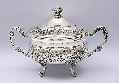 BEAUTIFUL STERLING SILVER SOUP TUREEN HAND ENGRAVED. 627 grams / 22.12 ounces