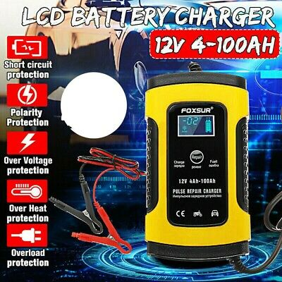 12V LCD Intelligent Car Battery Charger Automobile Motorcycle Pulse Repair F9L0M