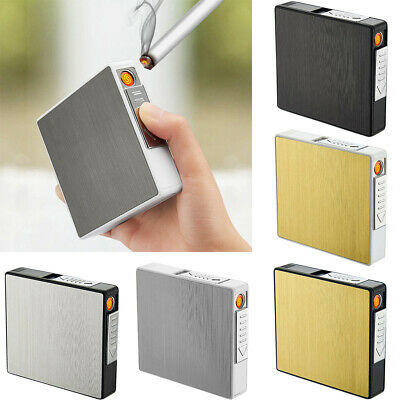Metal Cigarette Case 20 Loaded Cigarette Case Portable USB Charged Lighter AUS