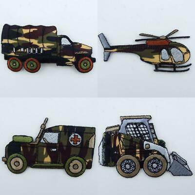 4 DESIGN Quality Iron or Sew On Army Camoflage Vehicles Khaki Green Patch Motif