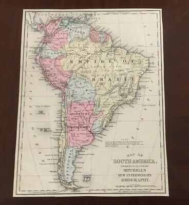 1876 Hand Colored Map Mitchells South America Brazil Argentina Patagonia Guiana