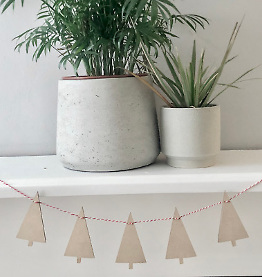 5 x 100mm Wooden Party Scandi Christmas Tree Bunting with 1 metre cotton string
