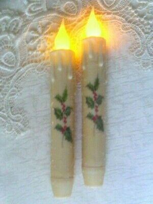 """CHRISTMAS HOLLY BERRY LED TIMER Taper Candles GLITTERED CREAM 2 pc 6.75"""" Cottage"""