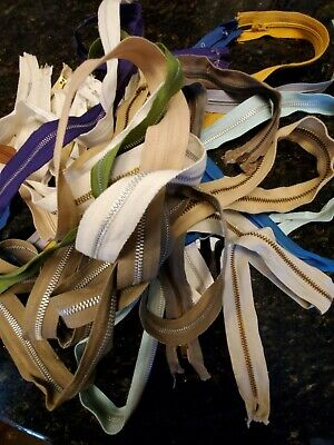 """Lot Of 23 Zippers - New & Used - Metal, Nylon, Plastic - 7"""" to 86"""""""