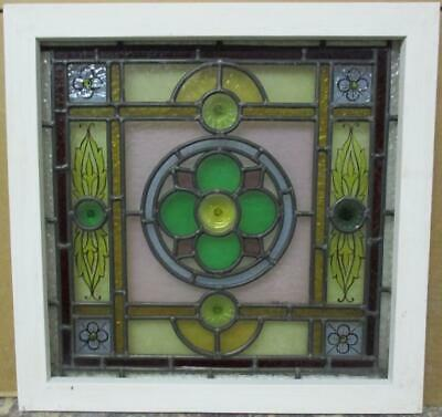 "VICTORIAN ENGLISH LEADED STAINED GLASS WINDOW HP & Bullseyes 19.75"" x 19.25"""