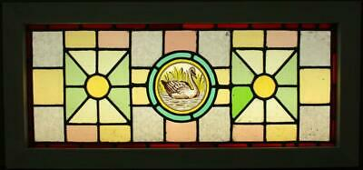"OLD ENGLISH LEADED STAINED GLASS WINDOW TRANSOM Victorian HP Swan 30.25"" x 14"""