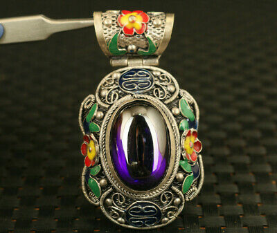 chinese old cloisonne tibet silver inlay viole jade hand carved pendant netsuke