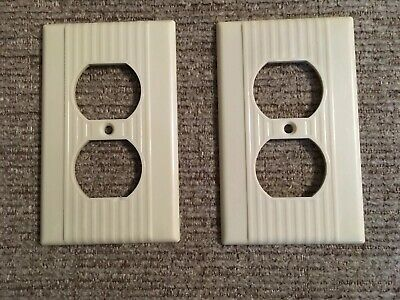 2 Vintage Leviton Outlet Covers Art Deco Ribbed Lines Beige/Ivory Bakelite