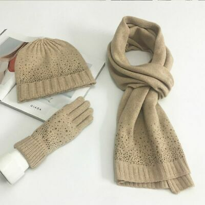 Winter Knitted Scarf Hat Gloves Set For Women Rhinestones Designed Accessory New