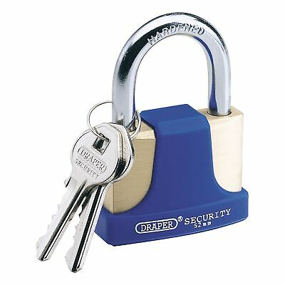 Draper 52MM Solid Brass Padlock with Hardened Steel Shackle and Bumper 8303/52