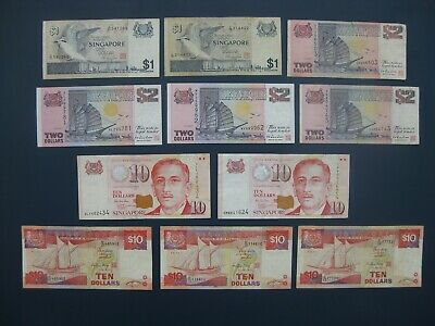11No. SINGAPORE BANKNOTE COLLECTION~$1/$2/$10