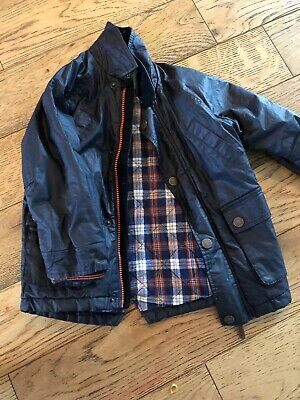Next Boys Wax Jacket Navy 3-4 Smart