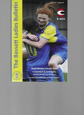 PROGRAMME - ROYAL WOOTTON BASSETT TOWN v LAVERSTOCK & FORD LADIES - 15 SEP 2019