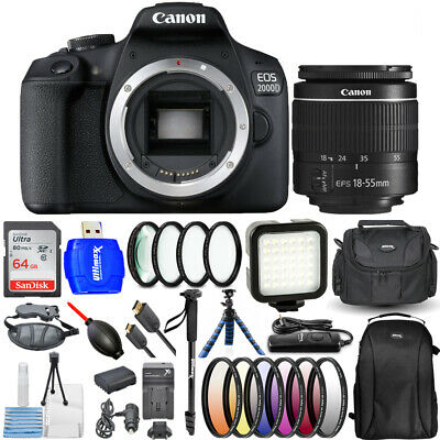 Canon EOS 2000D / Rebel T7 with 18-55mm III Lens 64GB Extra Battery Flash Bundle