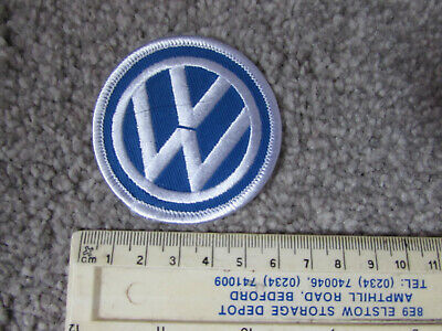 Blue/White Round 'Vw' Embroided Sew/Iron On Patch For Jacket, Overalls...