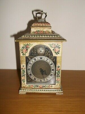 Exquisite Rare Miniature Chinoiserie Style 8 Day Mantel/Table Clock