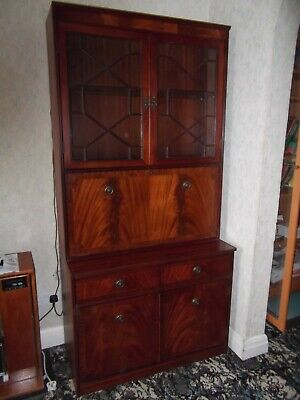 Attractive Mahogany 1980s Secretaire Bookcase/Cocktail Cabinet in good condition