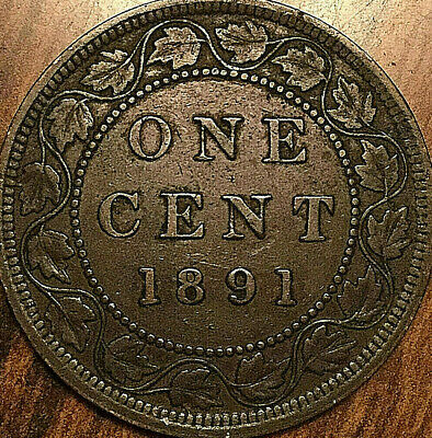 1891 CANADA LARGE CENT PENNY LARGE 1 CENT COIN - LDLL Obverse #3 variety